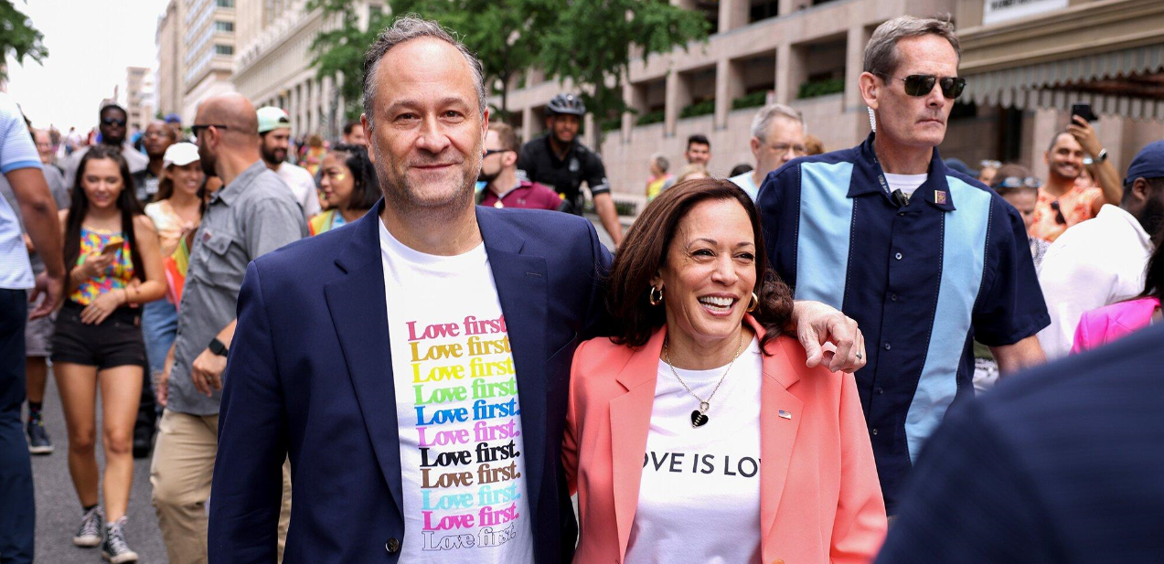 US Vice President Kamala Harris and her husband Douglas take part in a pride march