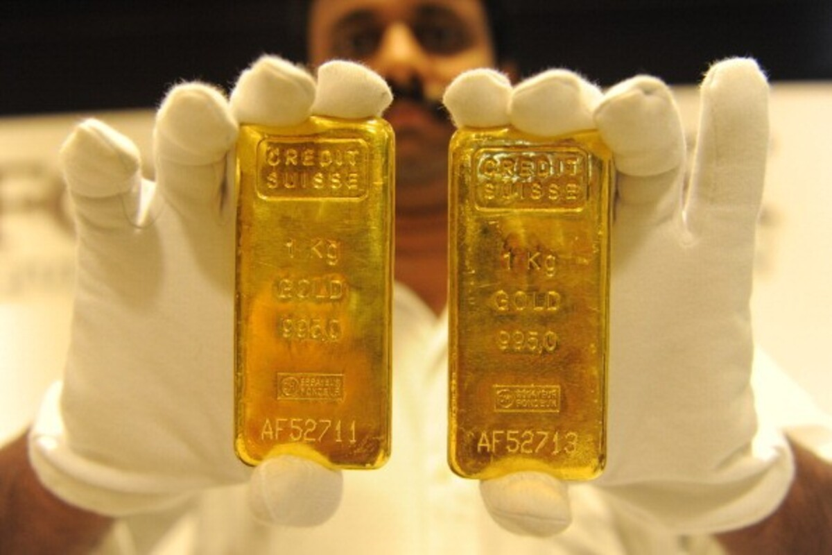 The price of gold fell, how much of silver?