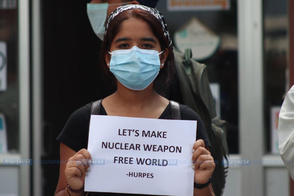 Peaceful demonstration at Maitighar demanding ratification of the Non-Proliferation Treaty [Photos]