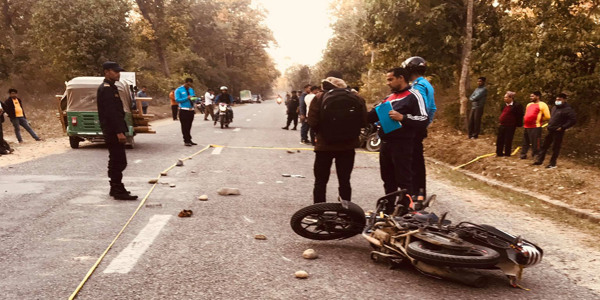 Two youths on a motorcycle died after being hit by a bus
