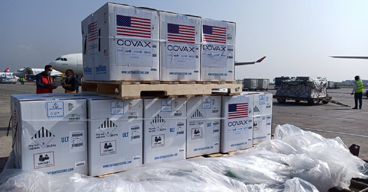 One lakh dose of Pfizer vaccine sent by USA has reached Nepal