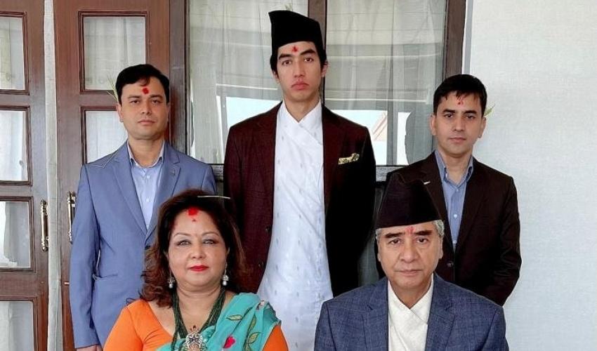 PM Deuba receives Dashain tika with his family